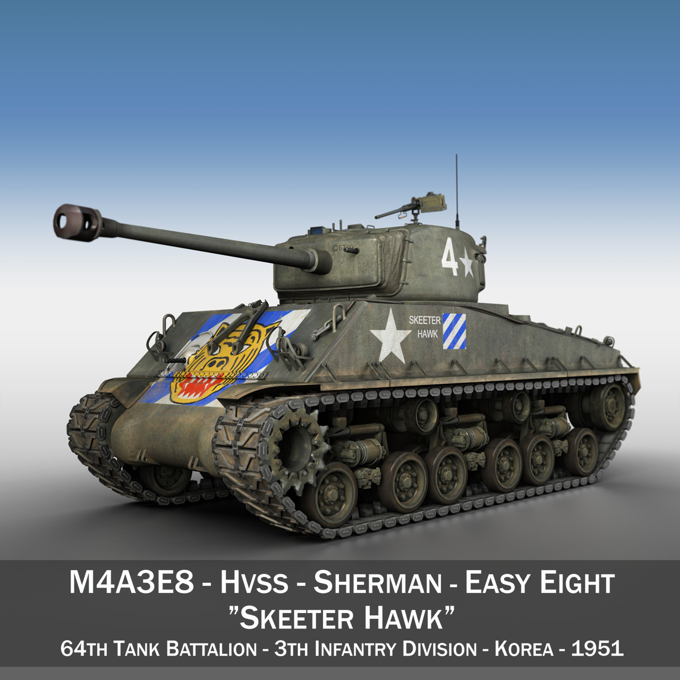 m4a3e8 sherman – easy eight – skeeter hawk 3d model 3ds fbx lwo lw lws obj c4d 266896