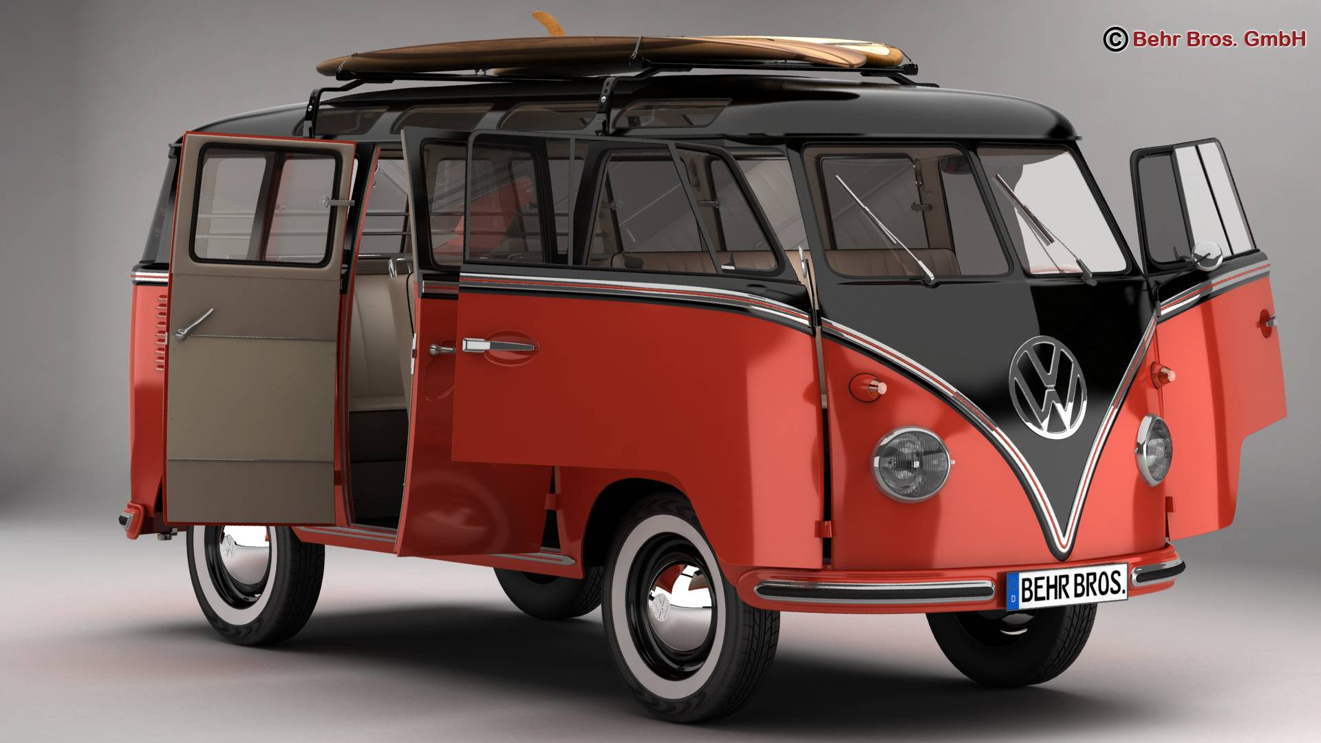 Volkswagen T1 Samba 1959 Accessories 3d model 3ds max fbx c4d lwo ma mb obj 266977