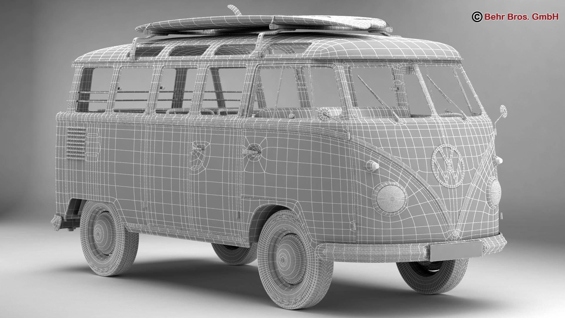 volkswagen t1 samba 1959 accessories 3d model. Black Bedroom Furniture Sets. Home Design Ideas