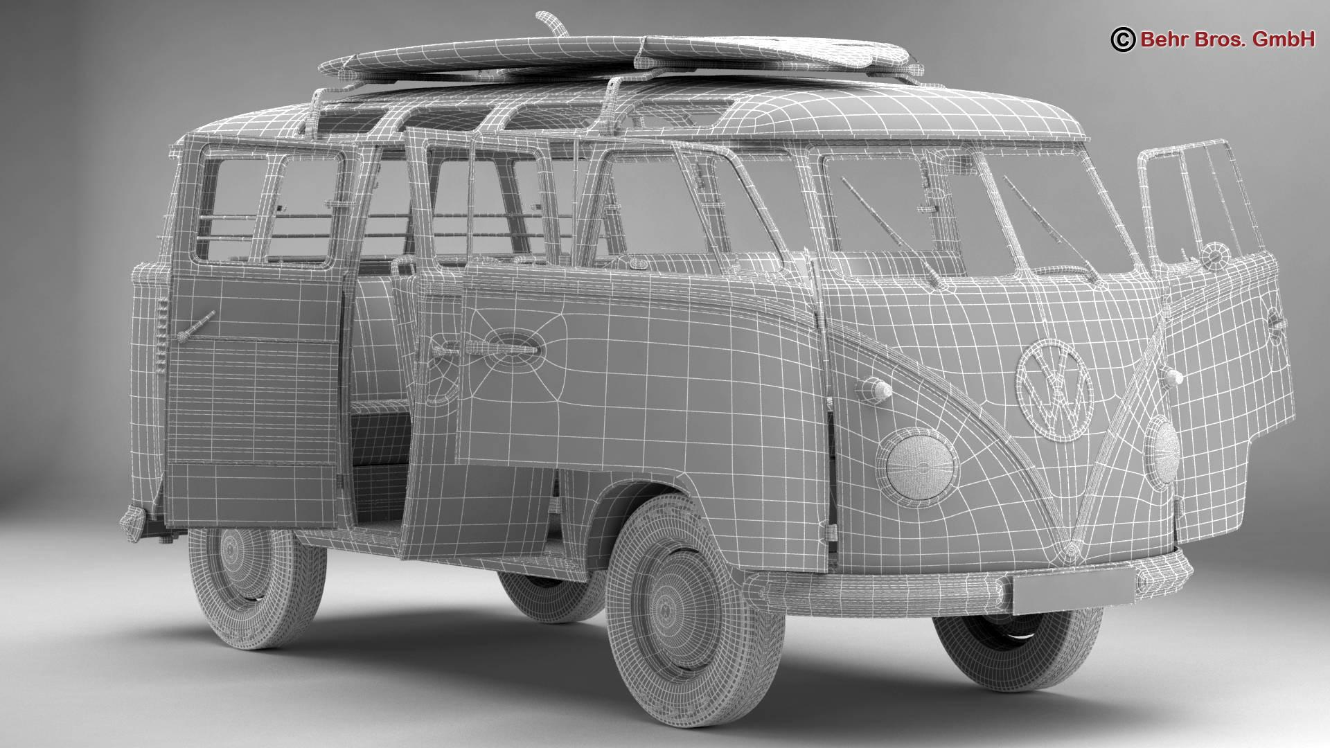Volkswagen T1 Samba 1959 Accessories 3d model 3ds max fbx c4d lwo ma mb obj 267003
