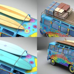 Volkswagen T1 Samba 1963 Hippie Accessories 3d model 0