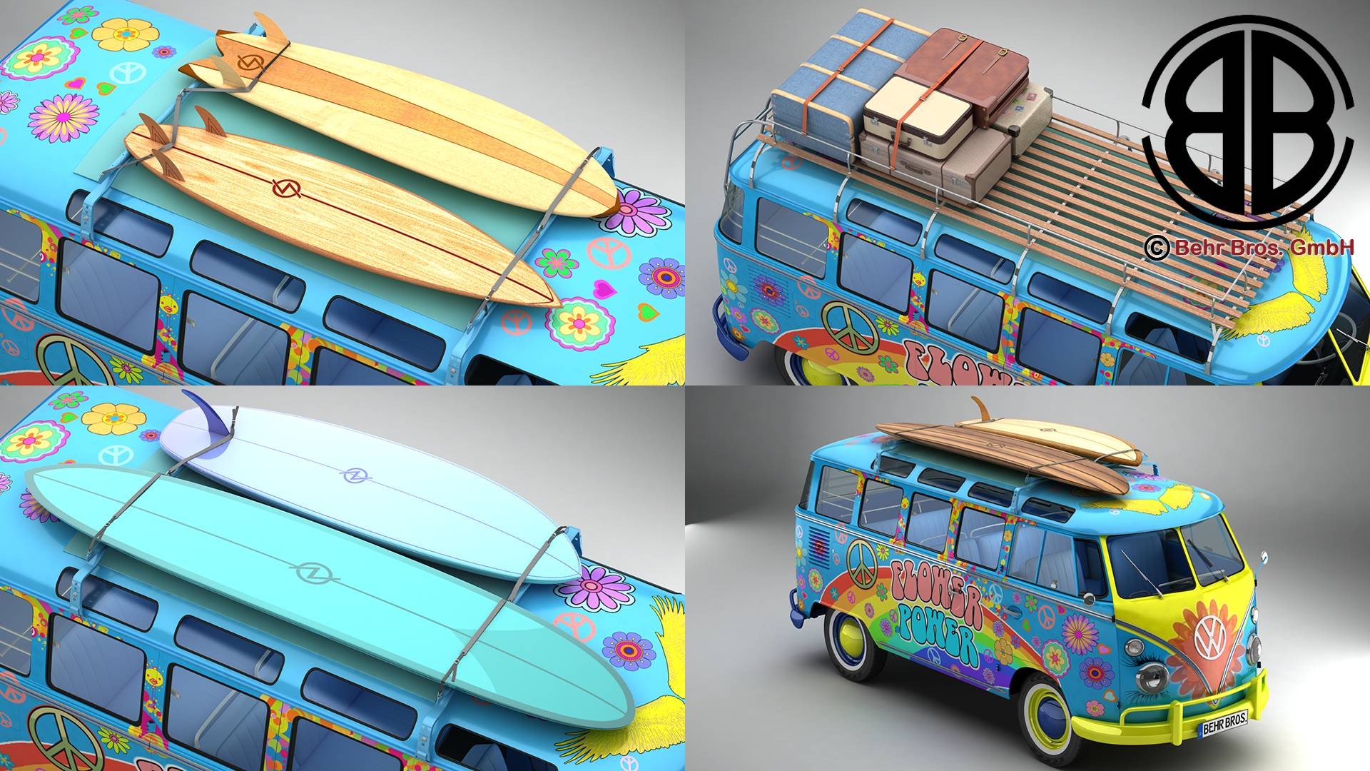 Volkswagen t1 samba 1963 accessoris hippy model 3d 3ds max fbx c4d lwo ma mb obj 267035