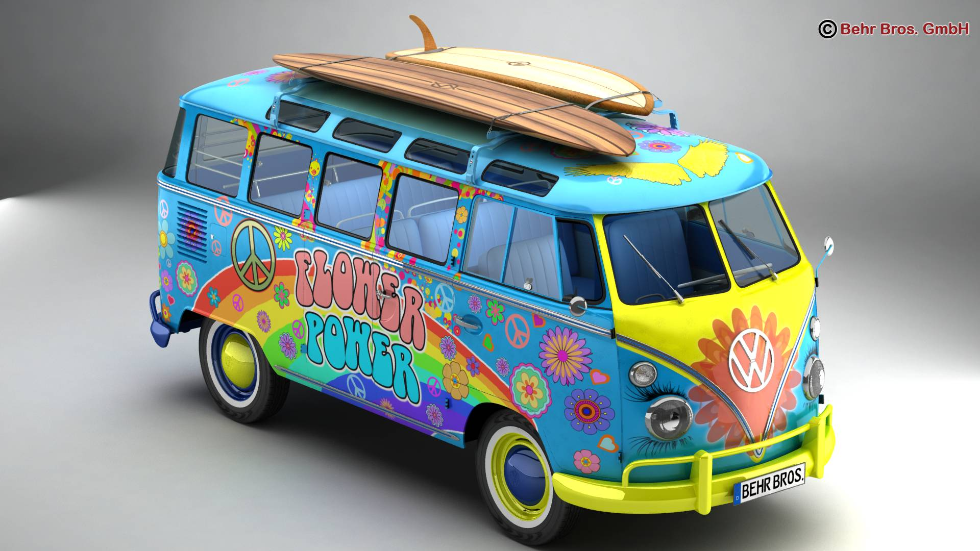 Volkswagen T1 Samba 1963 Hippie Accessories 3d model 3ds max fbx c4d lwo ma mb obj 267038