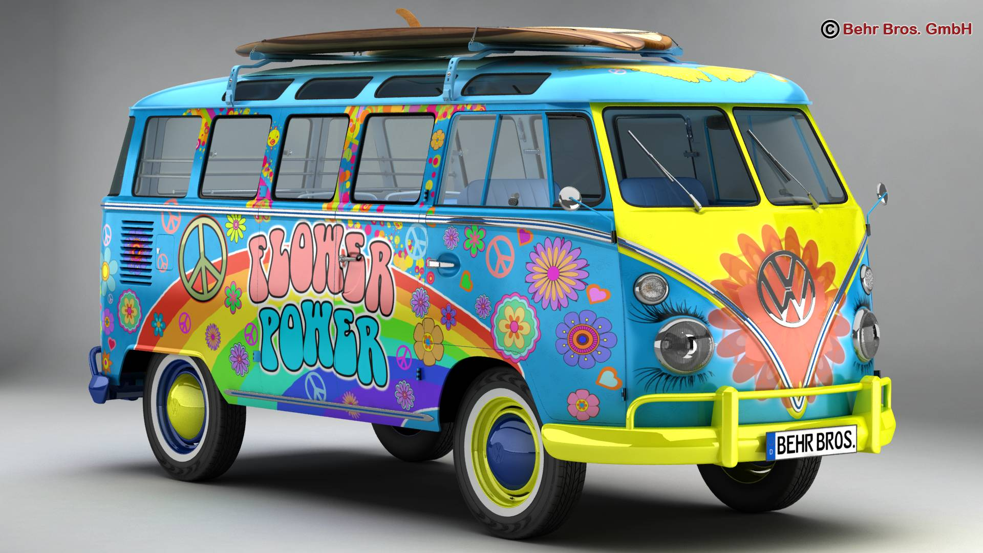 Volkswagen T1 Samba 1963 Hippie Accessories 3d model 3ds max fbx c4d lwo ma mb obj 267039