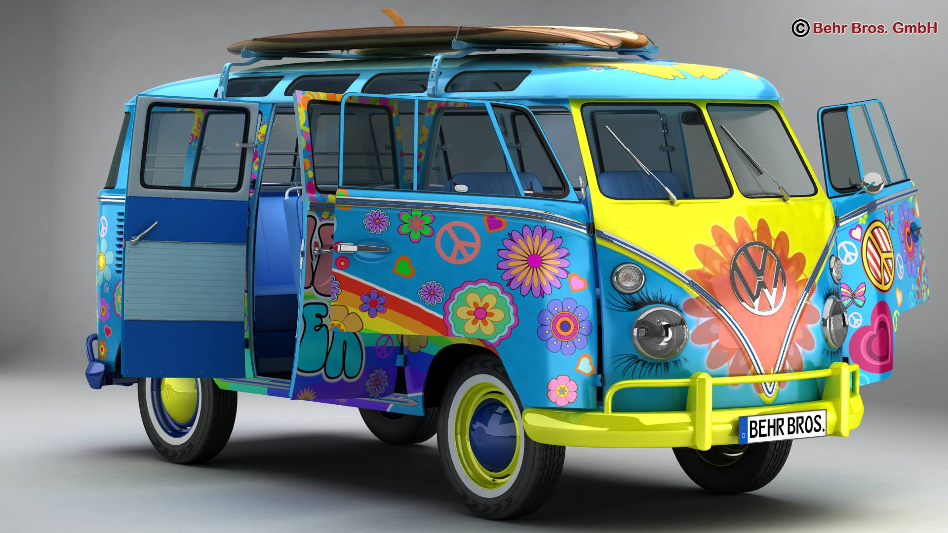 Volkswagen T1 Samba 1963 Hippie Accessories 3d model 3ds max fbx c4d lwo ma mb obj 267040