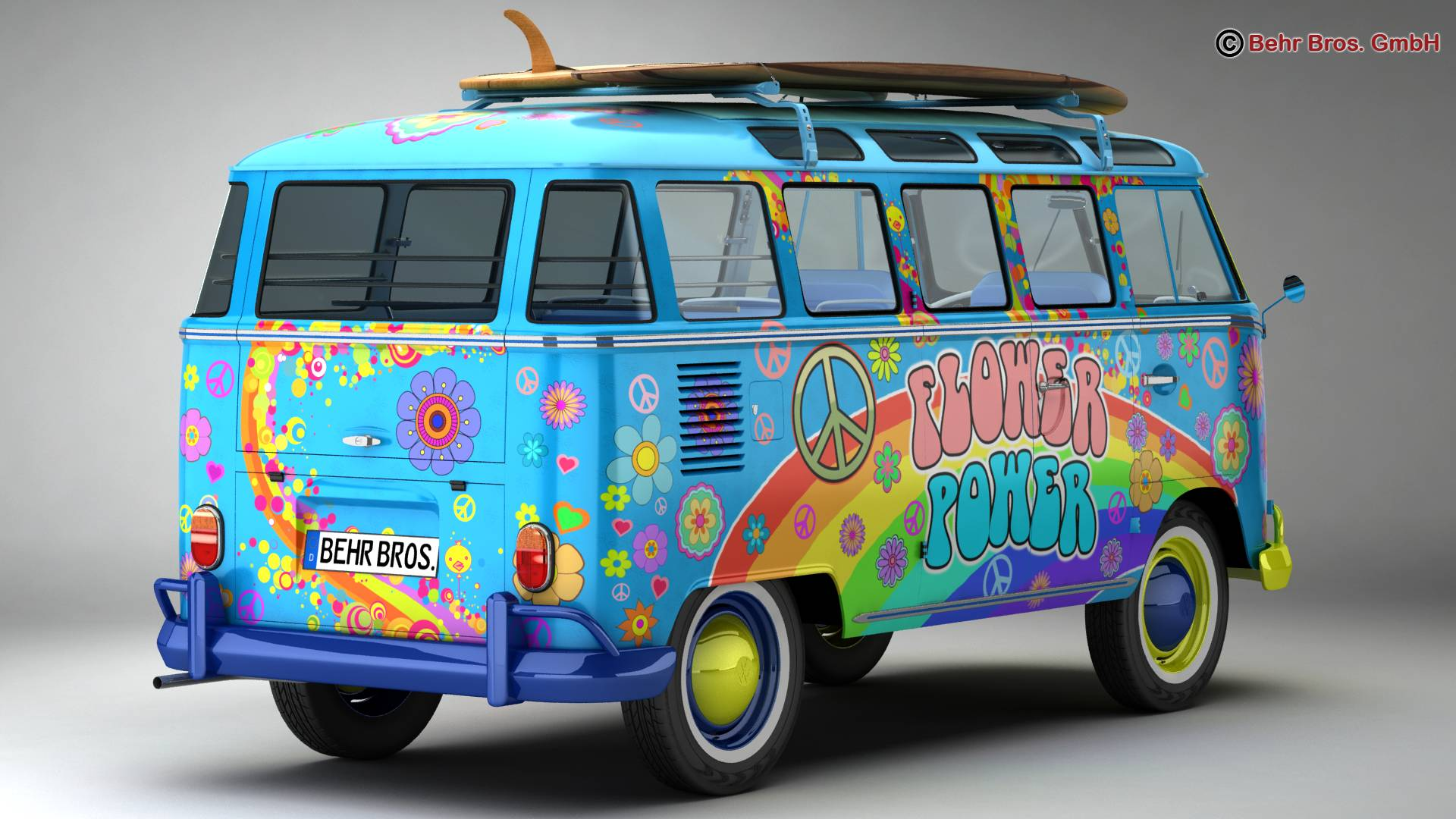 Volkswagen T1 Samba 1963 Hippie Accessories 3d model 3ds max fbx c4d lwo ma mb obj 267041