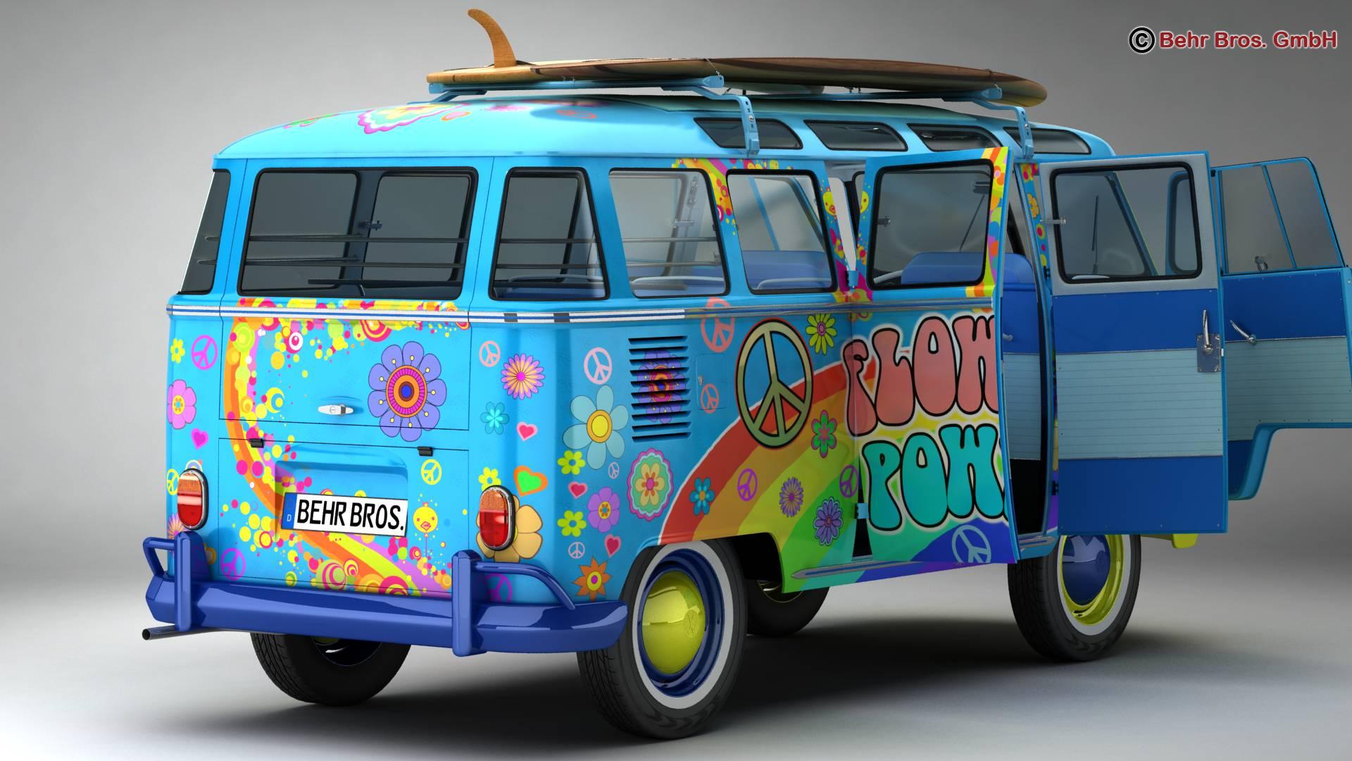 volkswagen t1 samba 1963 hippie accessories 3d model 3ds max fbx c4d lwo ma mb obj 267042
