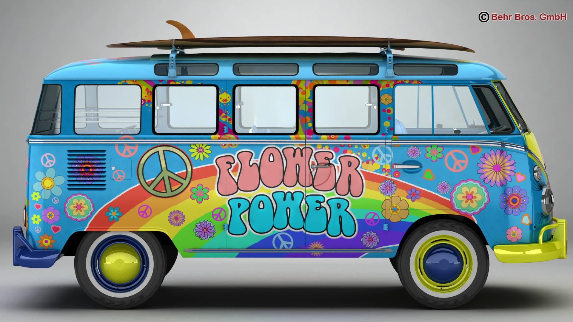 volkswagen t1 samba 1963 hippie accessories 3d model 3ds max fbx c4d lwo ma mb obj 267043