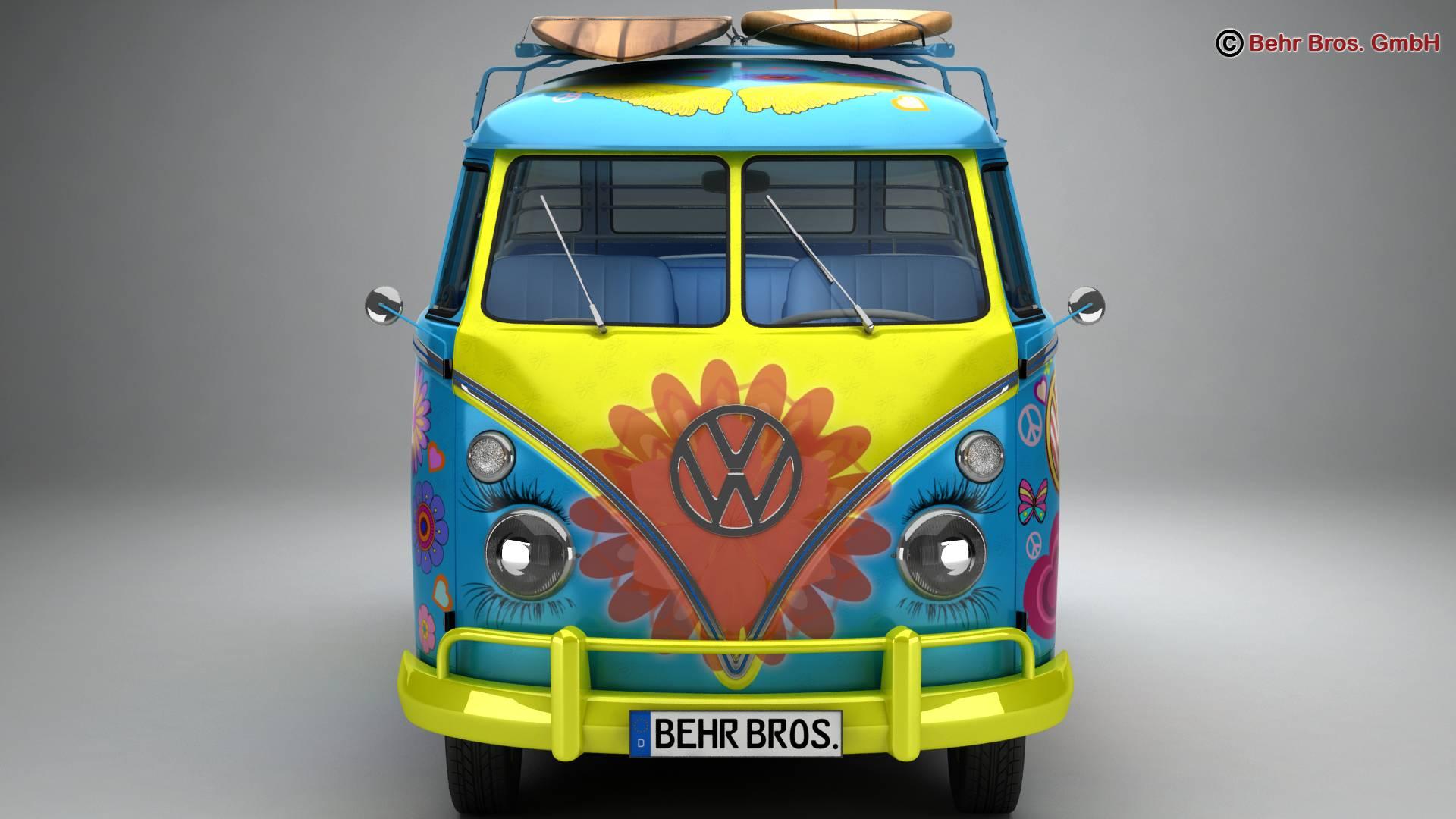 volkswagen t1 samba 1963 hippie accessories 3d model 3ds max fbx c4d lwo ma mb obj 267044