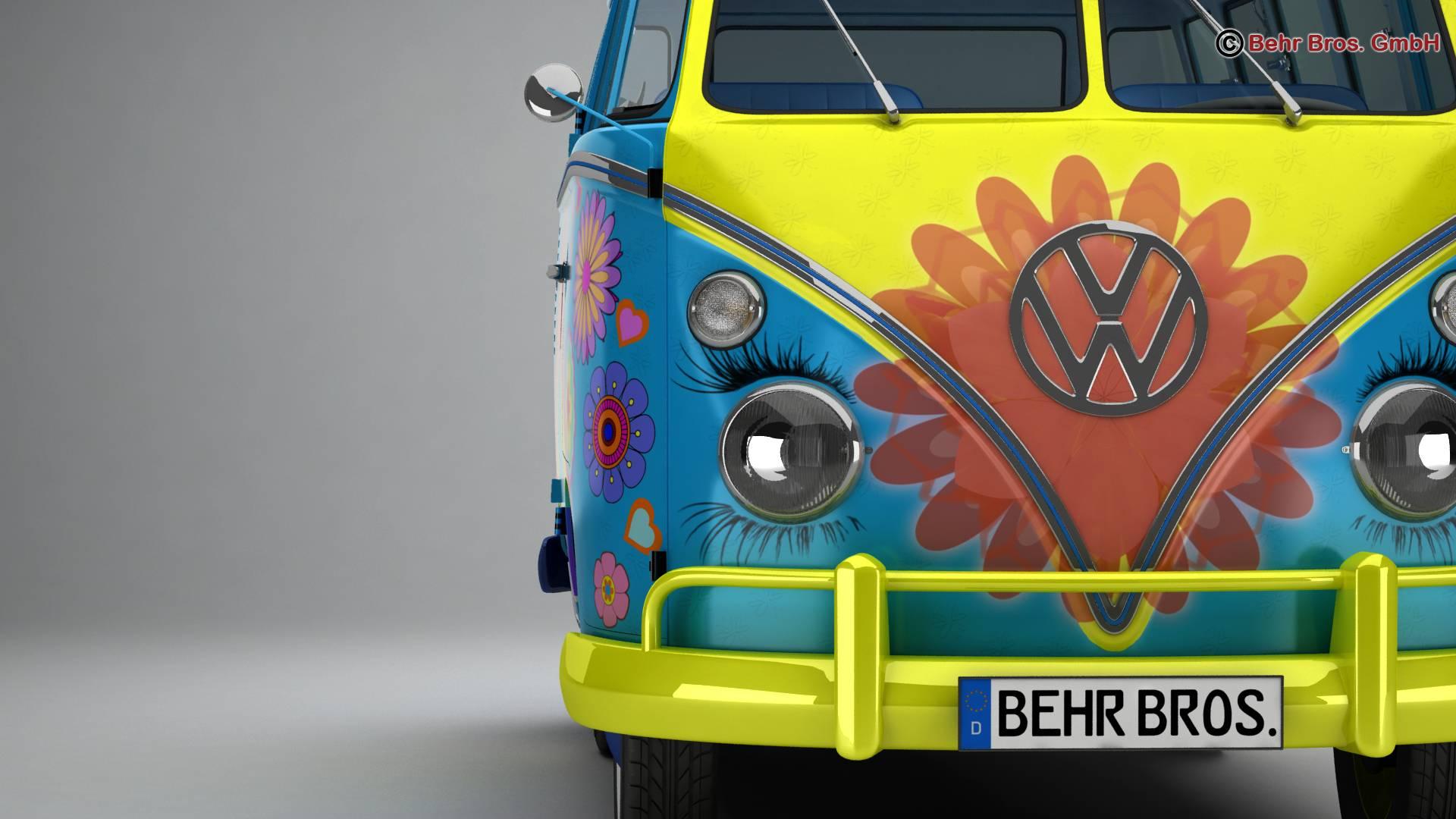 volkswagen t1 samba 1963 hippie accessories 3d model 3ds max fbx c4d lwo ma mb obj 267045