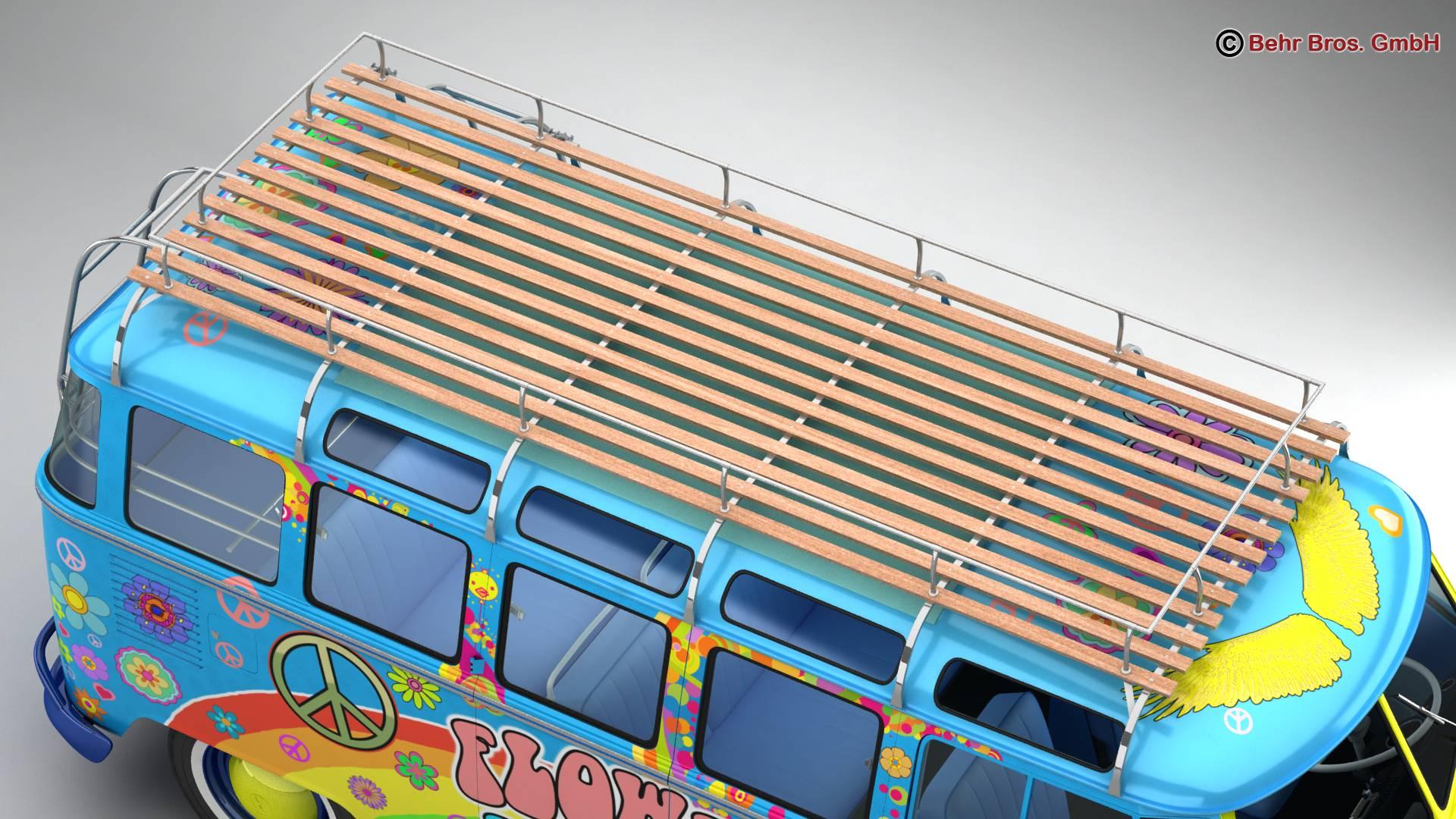 volkswagen t1 samba 1963 hippie accessories 3d model 3ds max fbx c4d lwo ma mb obj 267050