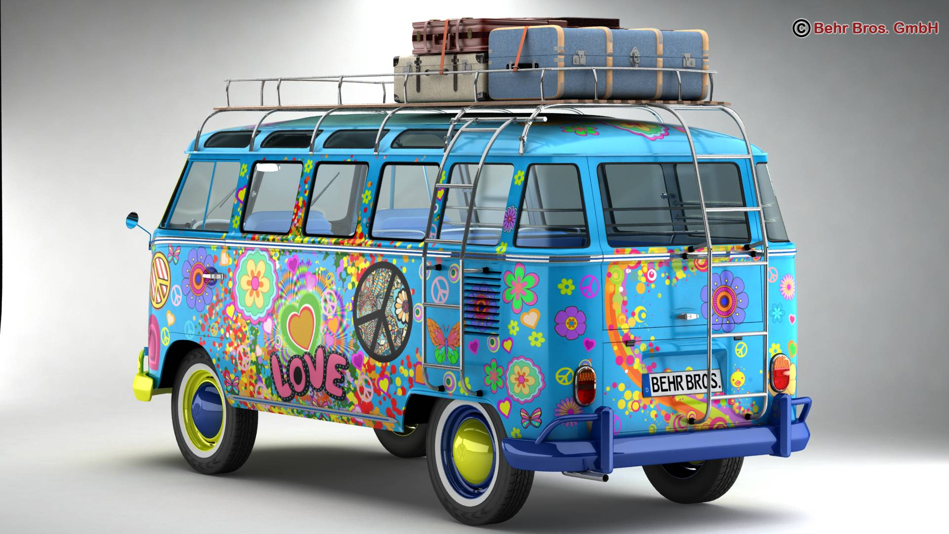 volkswagen t1 samba 1963 hippie accessories 3d model. Black Bedroom Furniture Sets. Home Design Ideas