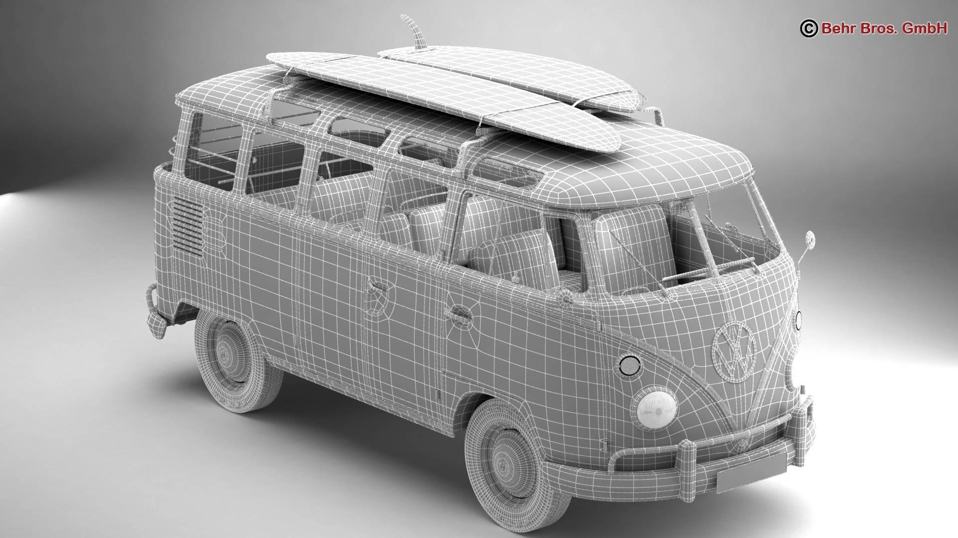 volkswagen t1 samba 1963 hippie accessories 3d model 3ds max fbx c4d lwo ma mb obj 267064