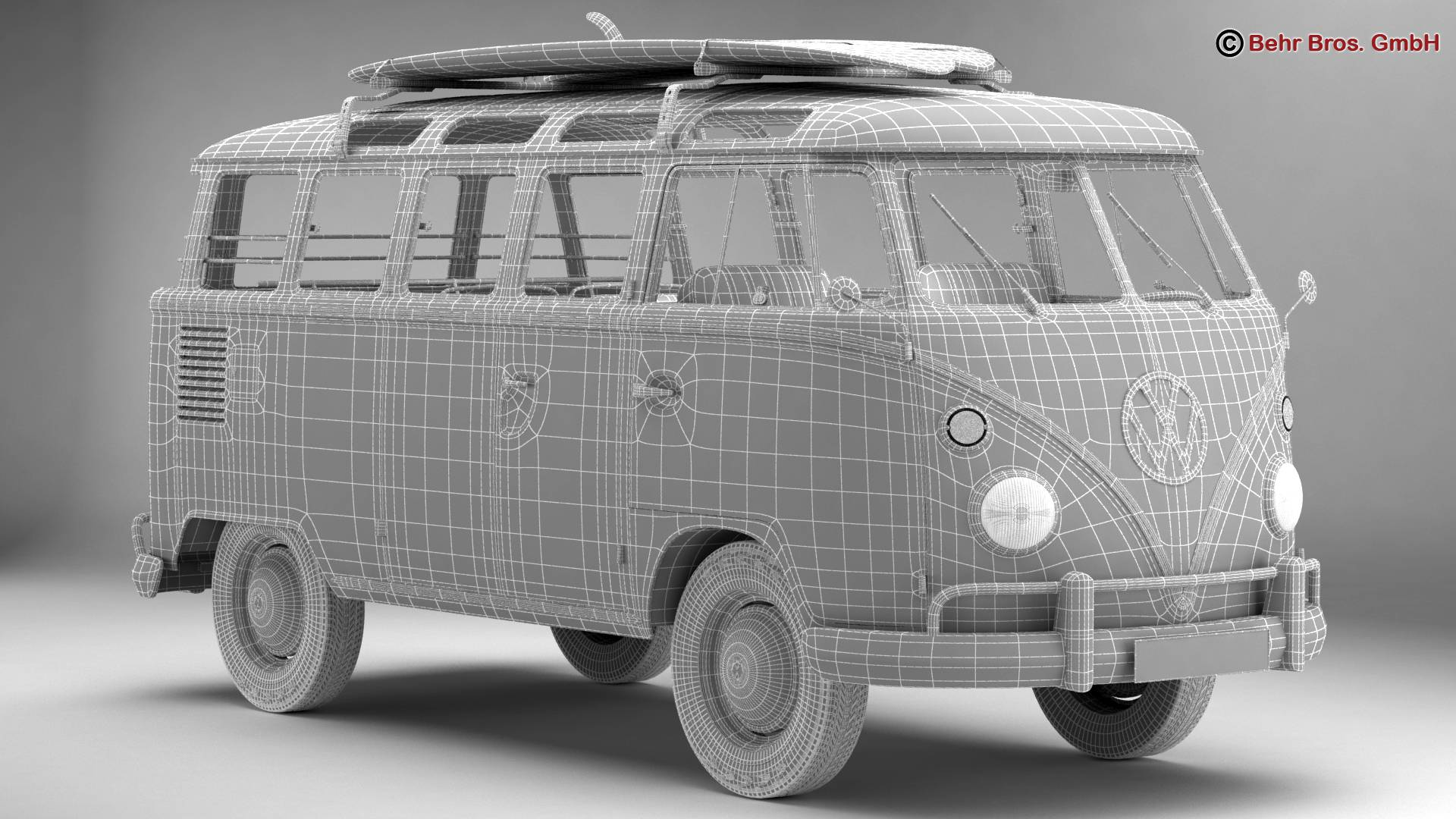 Volkswagen T1 Samba 1963 Hippie Accessories 3d model 3ds max fbx c4d lwo ma mb obj 267065