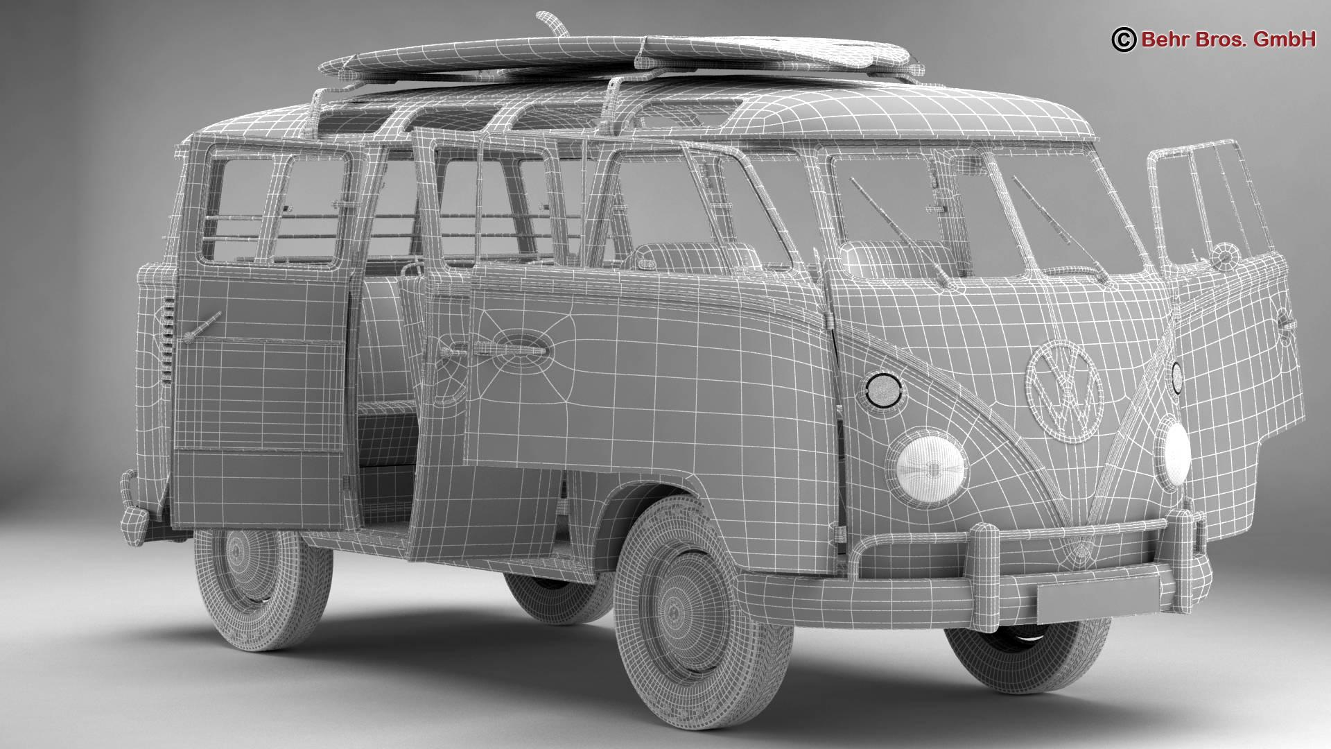 volkswagen t1 samba 1963 hippie accessories 3d model 3ds max fbx c4d lwo ma mb obj 267066