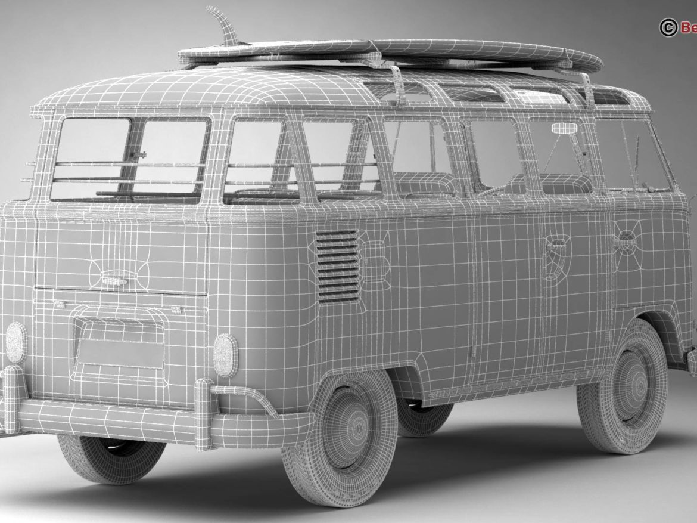 Volkswagen T1 Samba 1963 Hippie Accessories 3d model 0