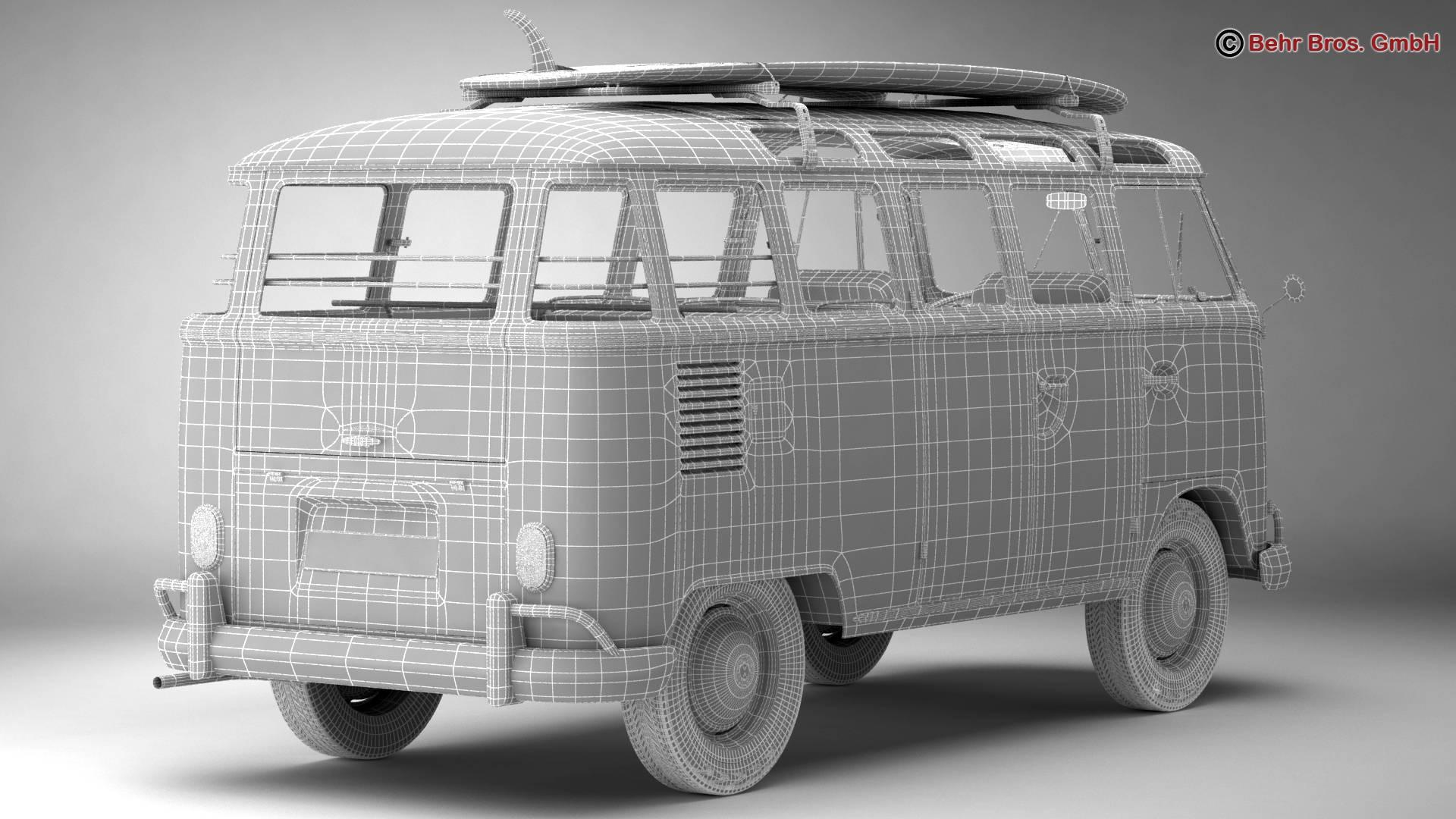 volkswagen t1 samba 1963 hippie accessories 3d model 3ds max fbx c4d lwo ma mb obj 267067