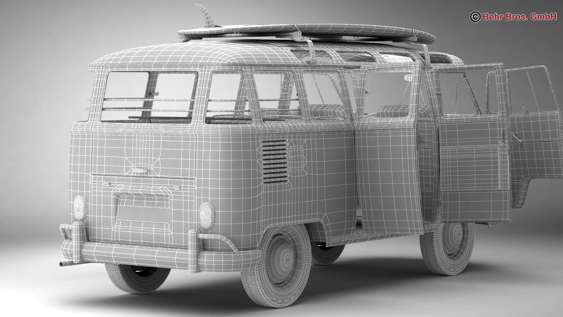 Volkswagen T1 Samba 1963 Hippie Accessories 3d model 3ds max fbx c4d lwo ma mb obj 267068