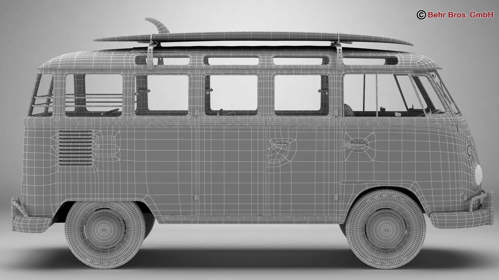 volkswagen t1 samba 1963 hippie accessories 3d model 3ds max fbx c4d lwo ma mb obj 267069