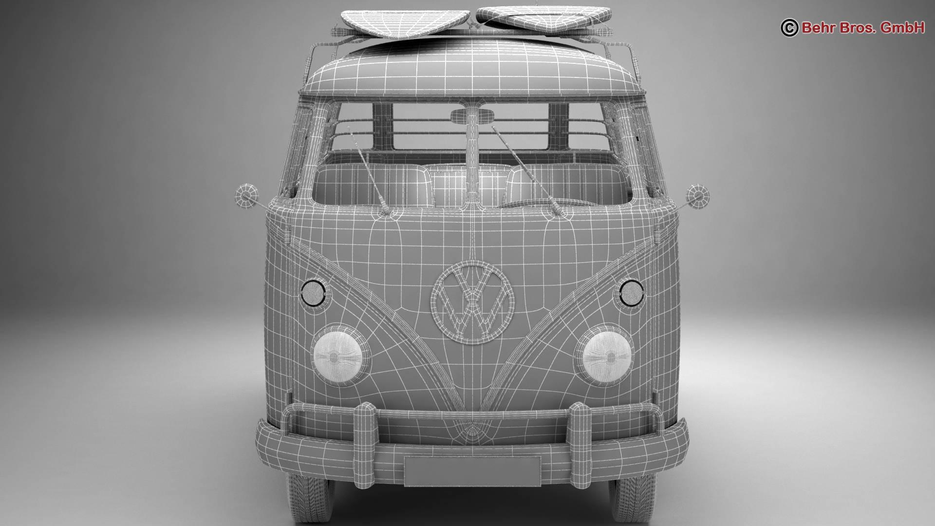 volkswagen t1 samba 1963 hippie accessories 3d model 3ds max fbx c4d lwo ma mb obj 267070