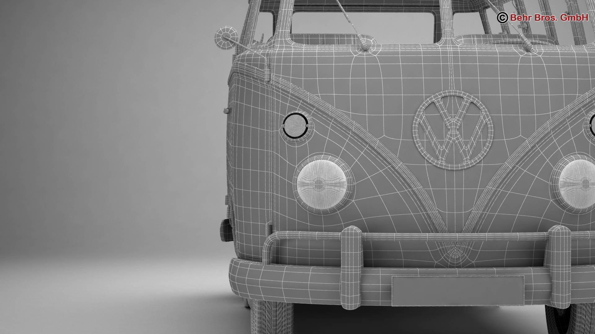 volkswagen t1 samba 1963 hippie accessories 3d model 3ds max fbx c4d lwo ma mb obj 267071