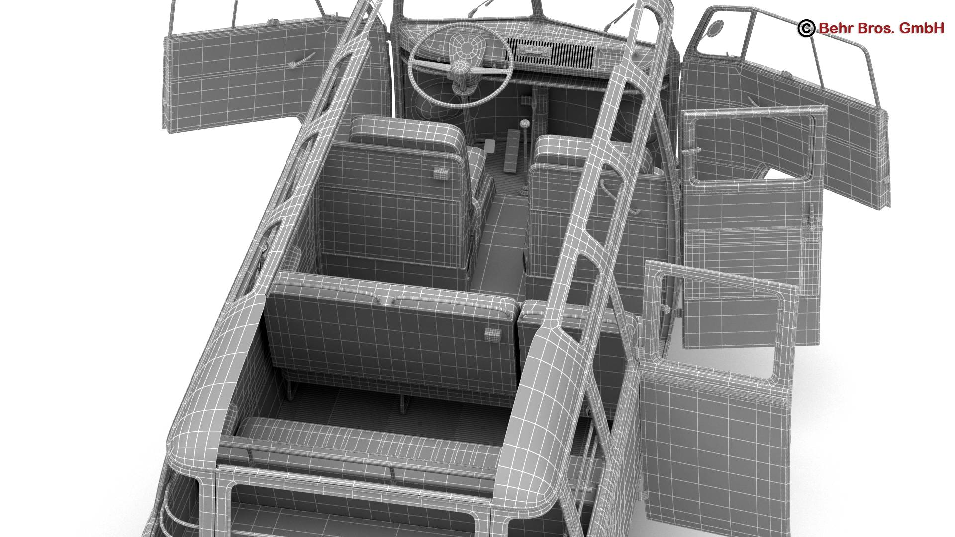 volkswagen t1 samba 1963 hippie accessories 3d model 3ds max fbx c4d lwo ma mb obj 267084