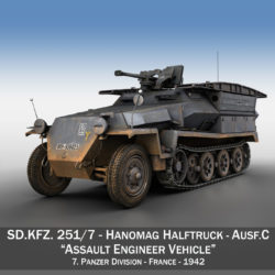 SD.KFZ.251/7 - Assault Engineer Vehicle - 7PD 3d model high poly virtual reality