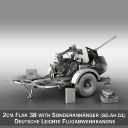 2cm Flak 38 with SD.AH. 51 - Trailer 3d model high poly