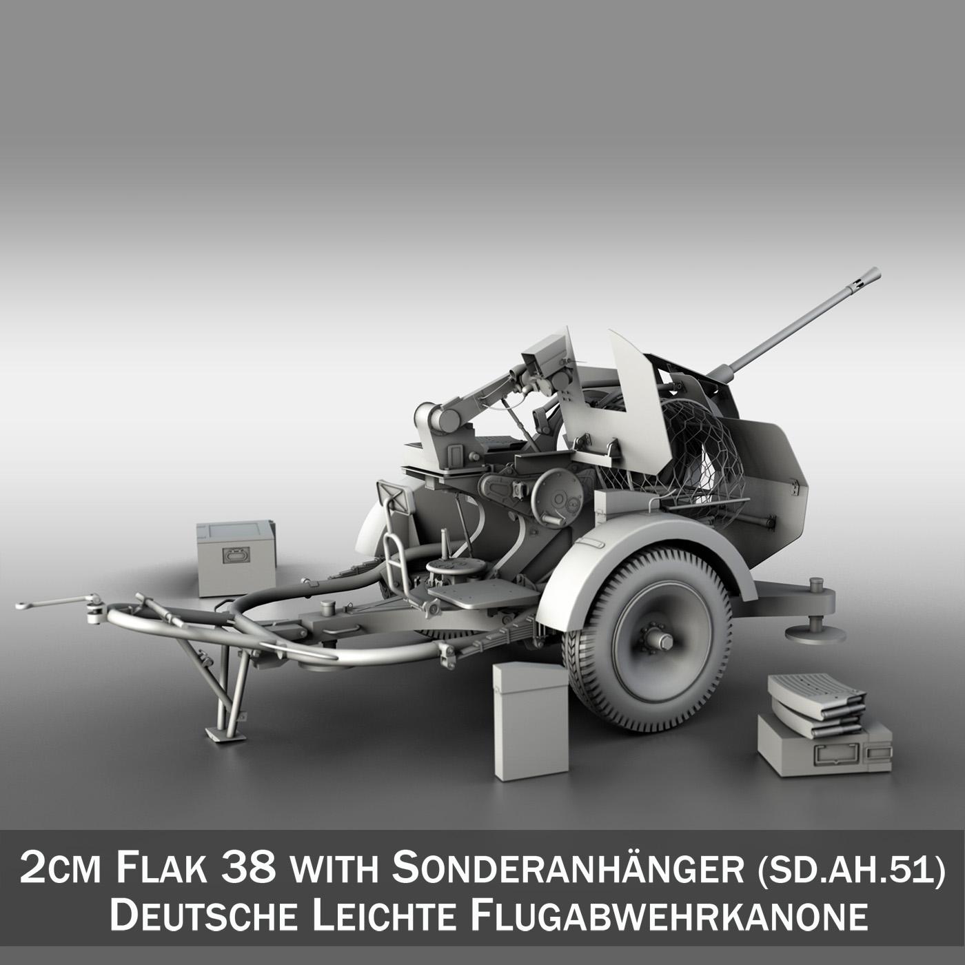 2cm Flak 38 with SD.AH. 51 - Trailer 3d model  267210
