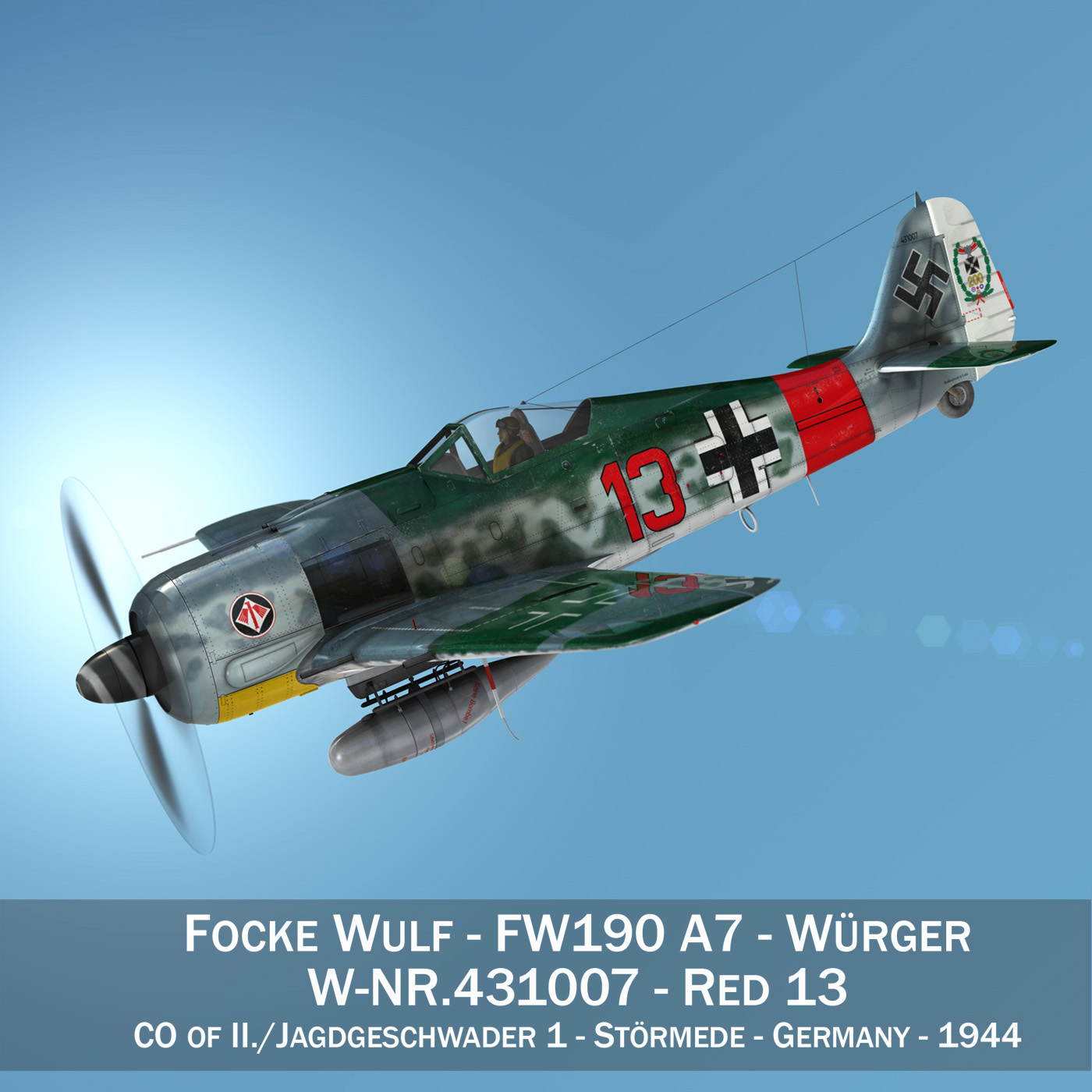 focke wulf – fw190 a7 – red 13 3d model 3ds fbx c4d lwo obj 267246