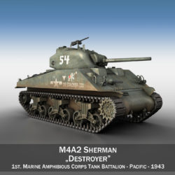 M4A2 Sherman - Destroyer 3d model 0