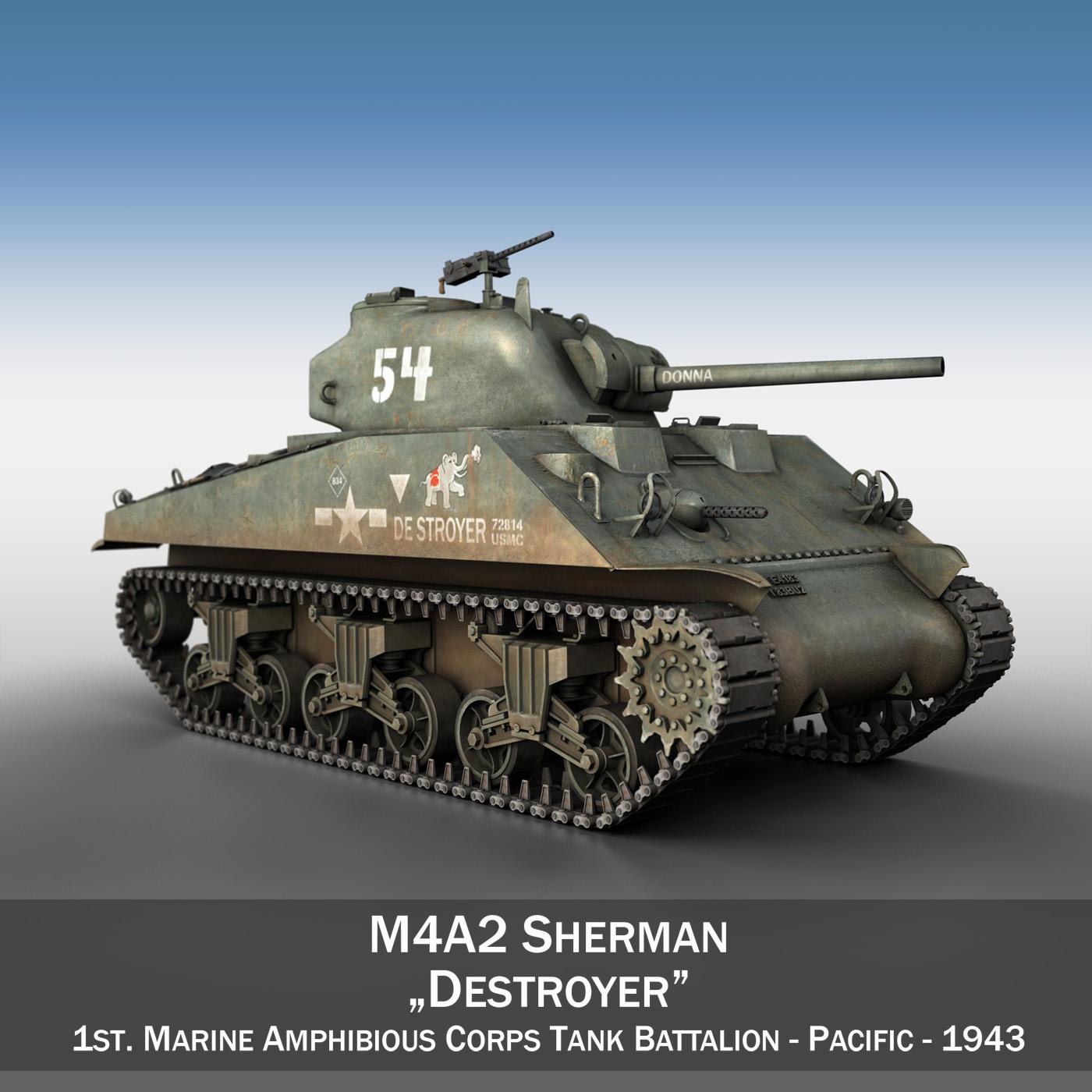 m4a2 sherman – destroyer 3d model 3ds fbx c4d lwo obj 267391