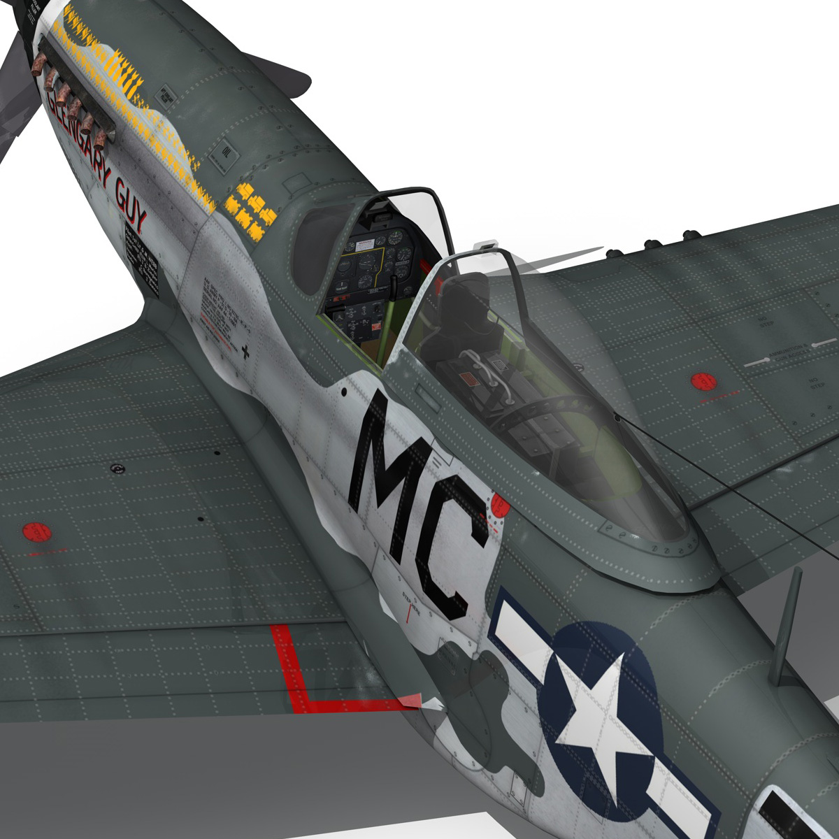north american p-51d mustang – glengary guy 3d model fbx c4d lwo obj 267530