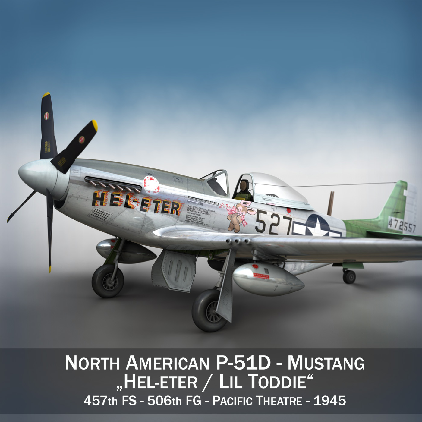 Ziemeļamerikas p-51d - mustang - heleter 3d modelis fbx c4d lwo obj 267540