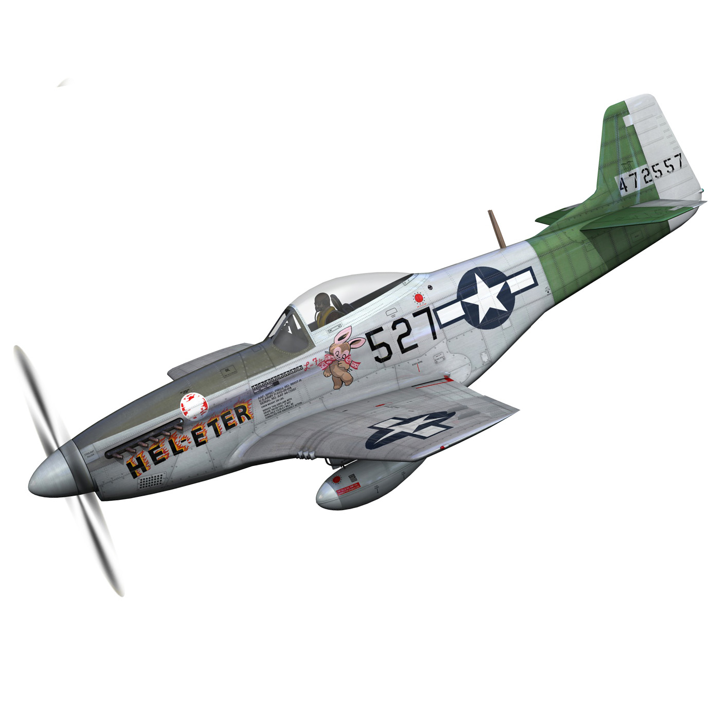 north american p-51d – mustang – heleter 3d model fbx c4d lwo obj 267541