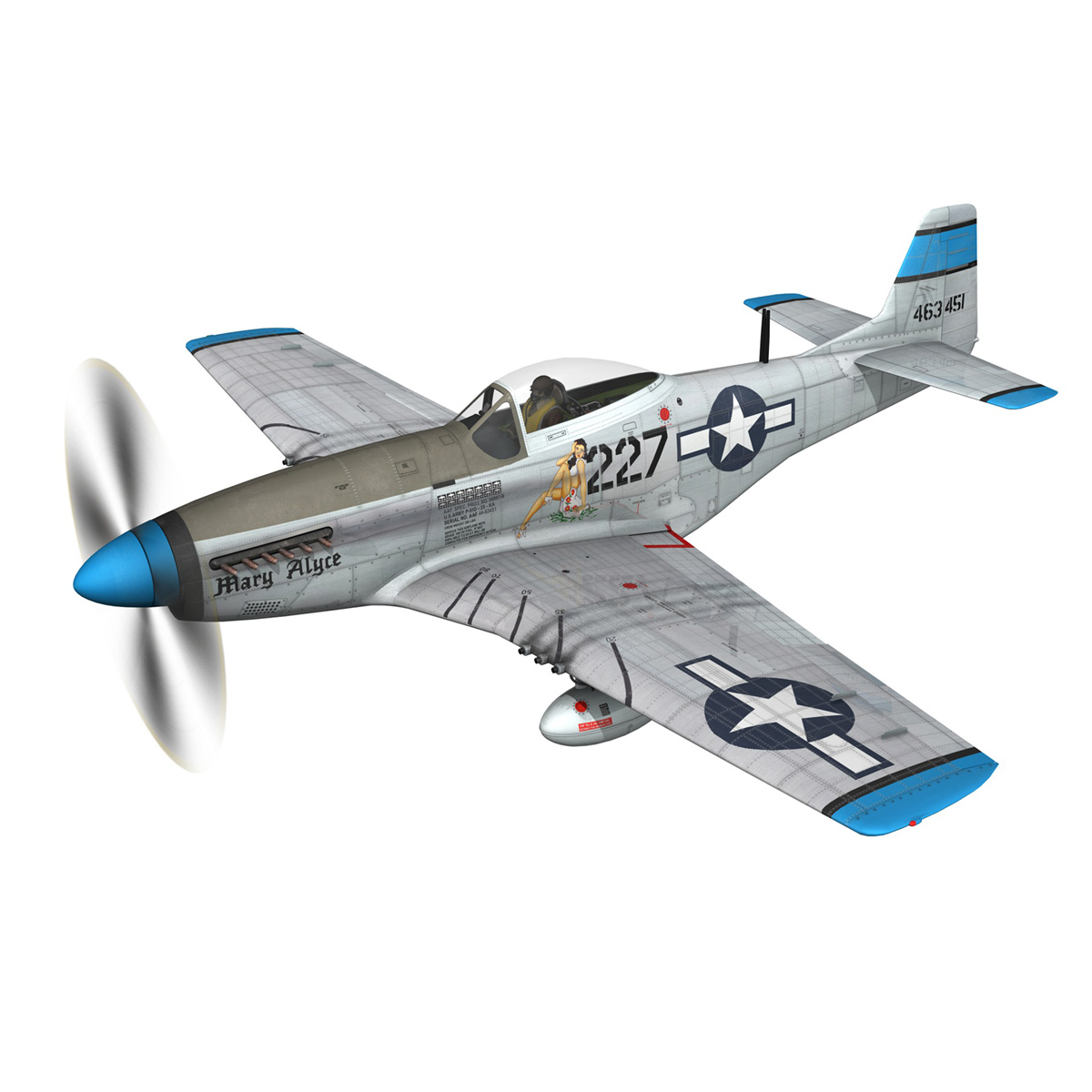 north american p-51d – mustang – mary alyce 3d model 3ds fbx c4d lwo obj 267569