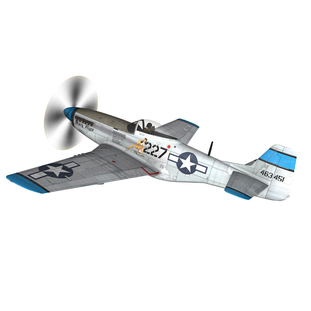 north american p-51d – mustang – mary alyce 3d model 3ds fbx c4d lwo obj 267570