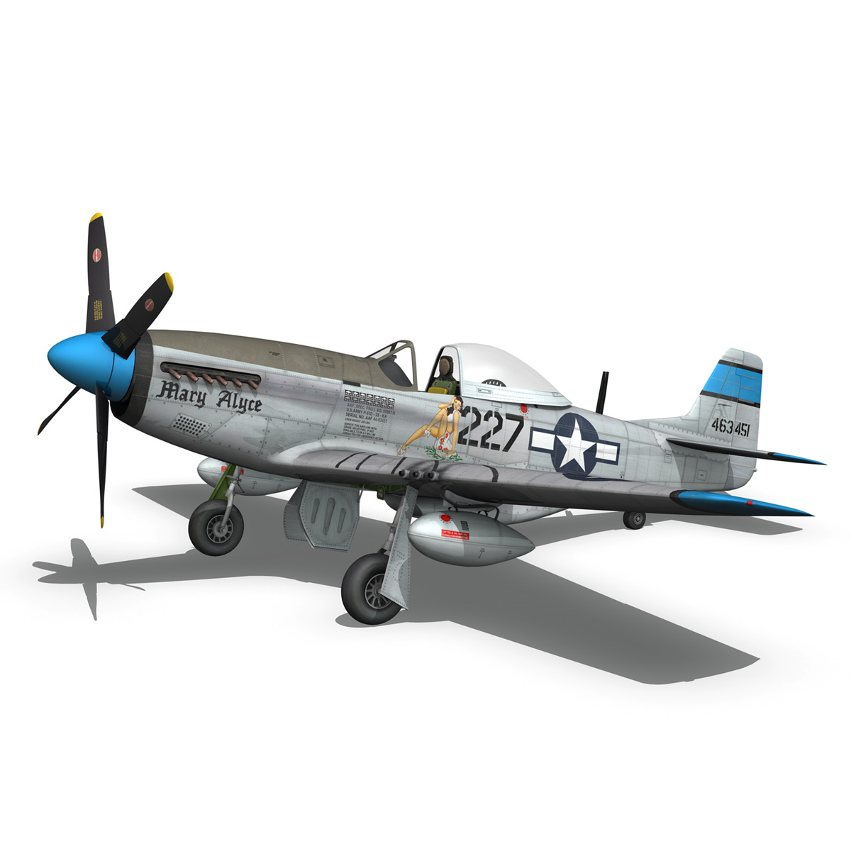 north american p-51d – mustang – mary alyce 3d model 3ds fbx c4d lwo obj 267575