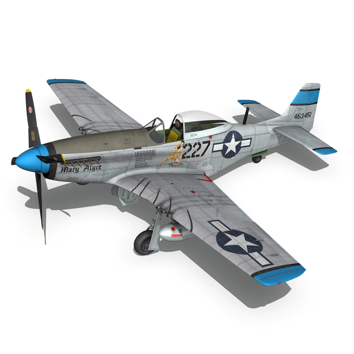 north american p-51d – mustang – mary alyce 3d model 3ds fbx c4d lwo obj 267576