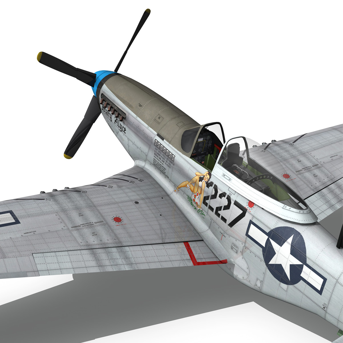 north american p-51d – mustang – mary alyce 3d model 3ds fbx c4d lwo obj 267583