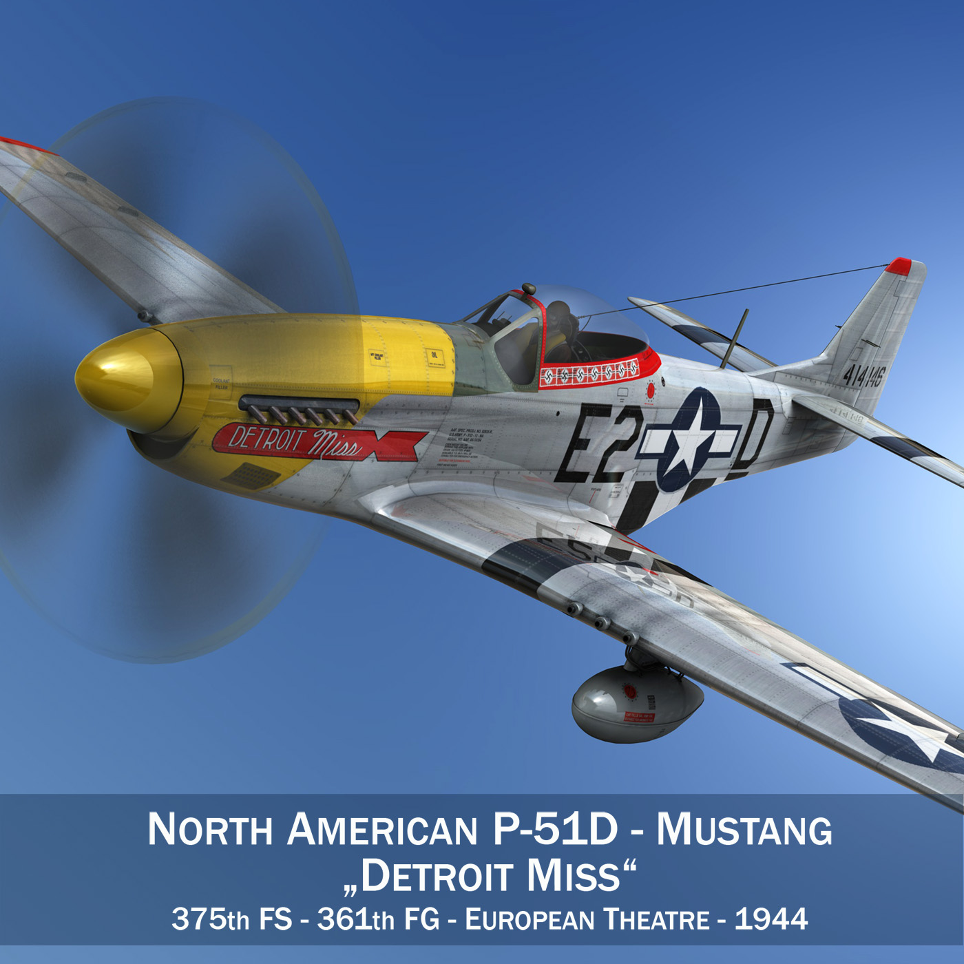 north american p-51d – mustang – detroit miss 3d model 3ds fbx c4d lwo obj 267592