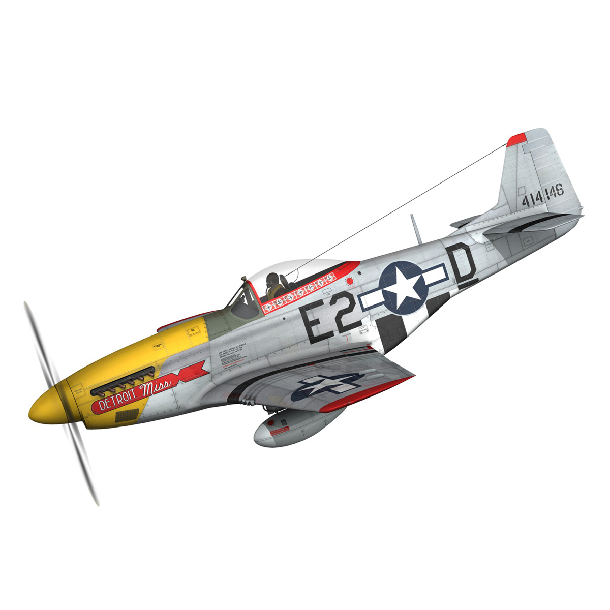 north american p-51d – mustang – detroit miss 3d model 3ds fbx c4d lwo obj 267593