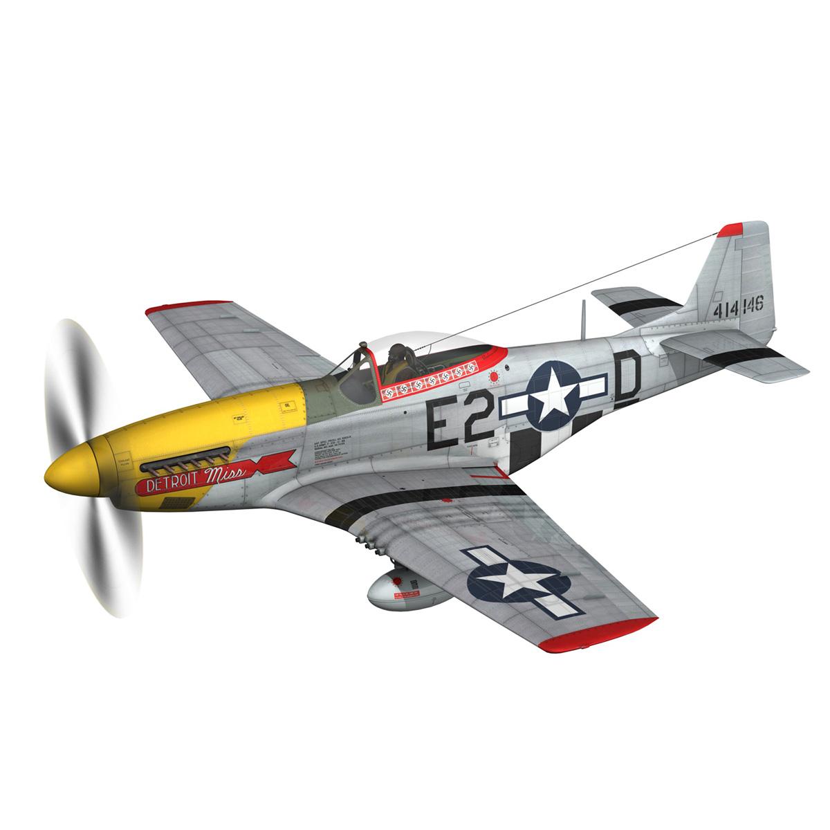 north american p-51d – mustang – detroit miss 3d model 3ds fbx c4d lwo obj 267594