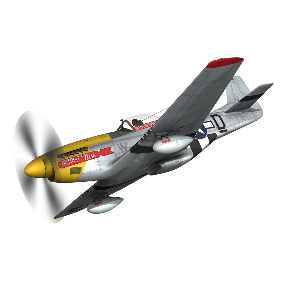 north american p-51d – mustang – detroit miss 3d model 3ds fbx c4d lwo obj 267595