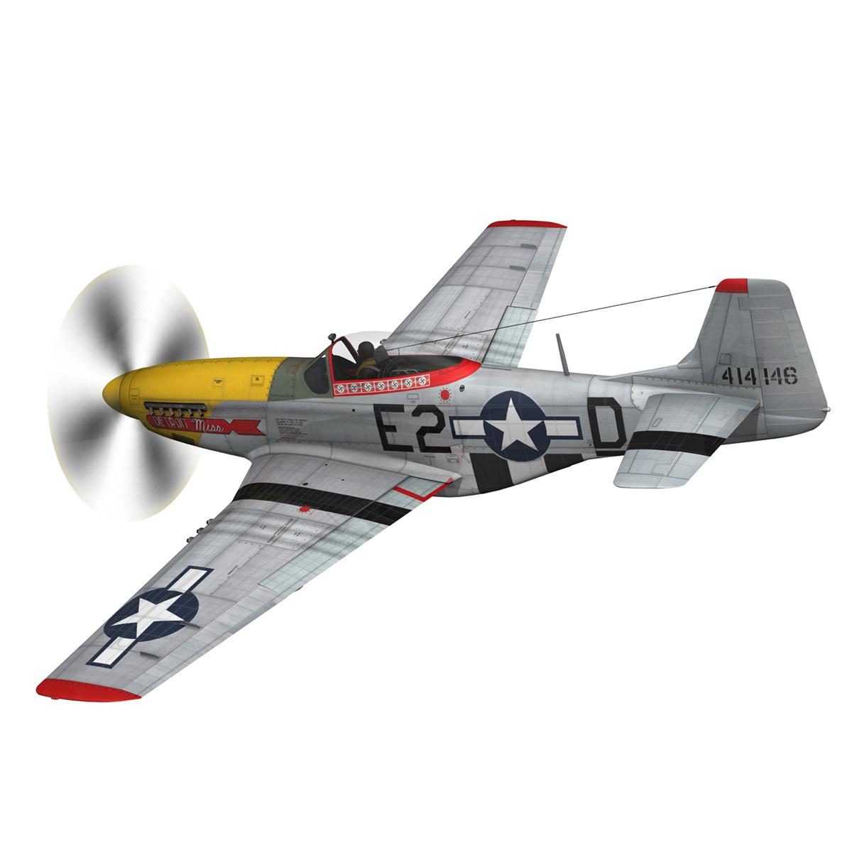 north american p-51d – mustang – detroit miss 3d model 3ds fbx c4d lwo obj 267596