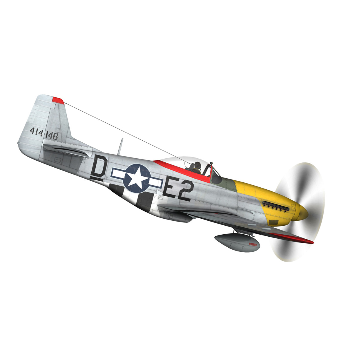 north american p-51d – mustang – detroit miss 3d model 3ds fbx c4d lwo obj 267597
