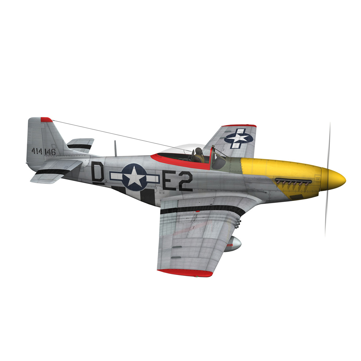 north american p-51d – mustang – detroit miss 3d model 3ds fbx c4d lwo obj 267598