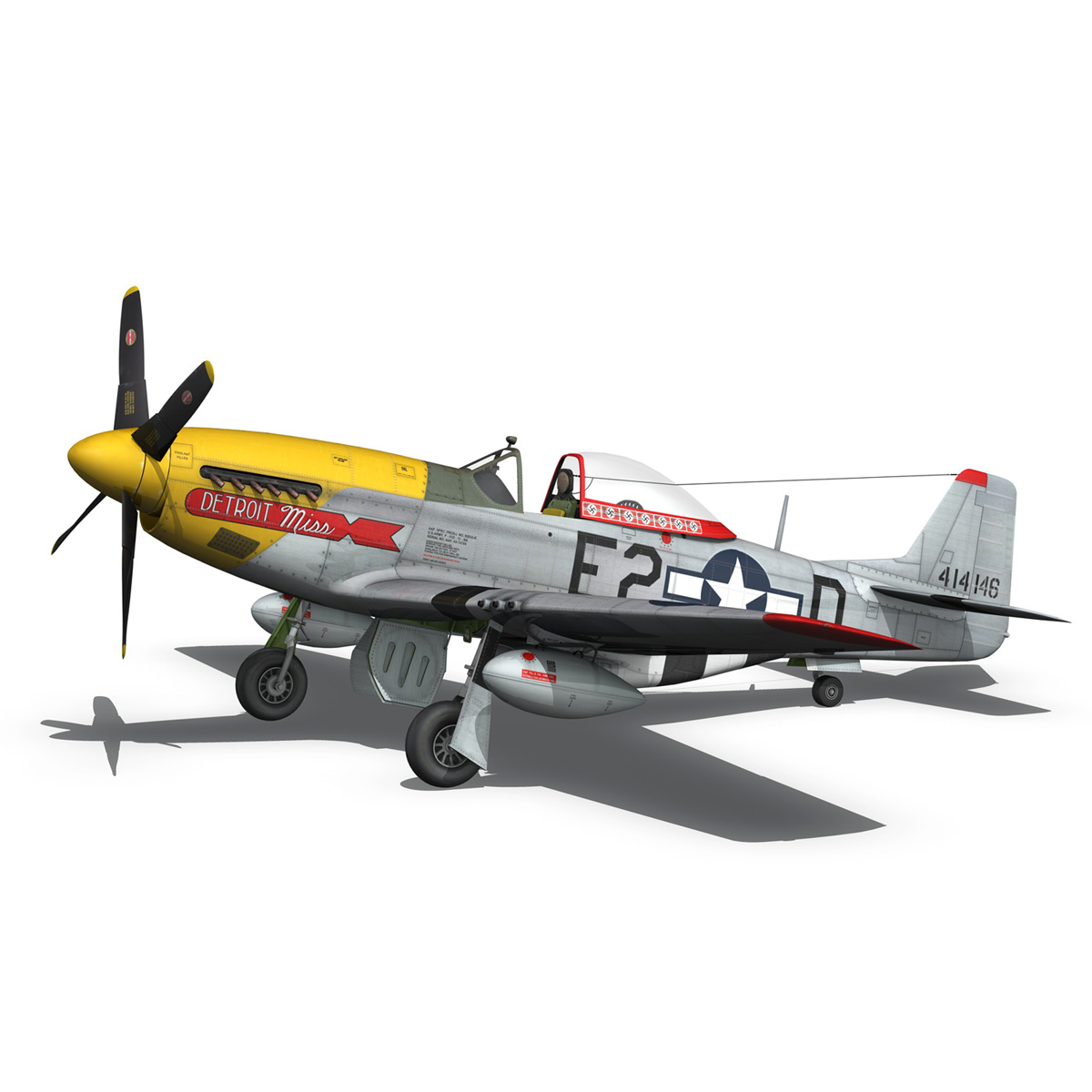 north american p-51d – mustang – detroit miss 3d model 3ds fbx c4d lwo obj 267601
