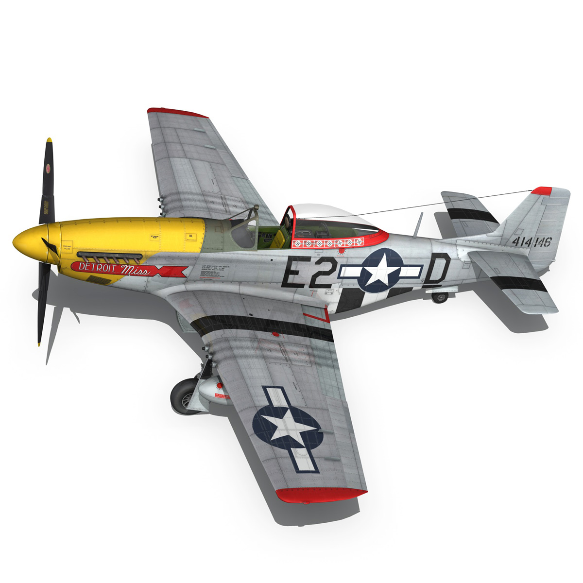 north american p-51d – mustang – detroit miss 3d model 3ds fbx c4d lwo obj 267602