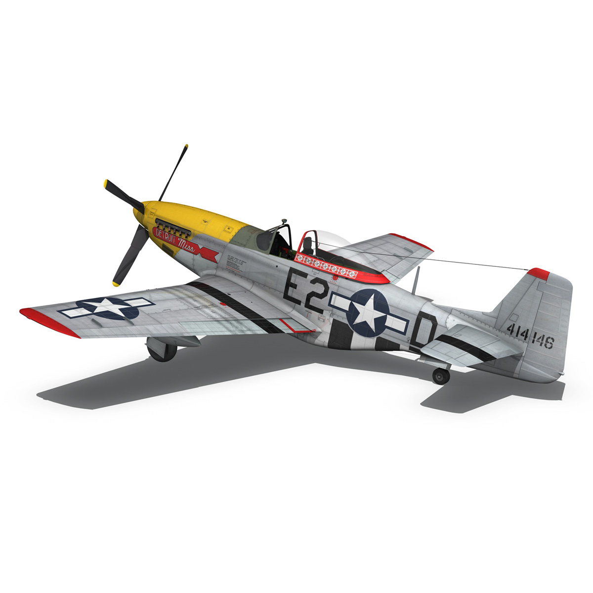 north american p-51d – mustang – detroit miss 3d model 3ds fbx c4d lwo obj 267603